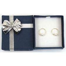 14K Yellow Gold Endless Hoop Pearl Earrings with Blue jewelry Gift Box
