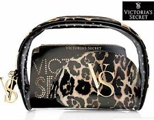 NWT Set 3 Pc Victoria's Secret Leopard Cosmetic Bag Trio Travel Make Up Bags New