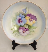 Beautiful Vintage Cabinet Plate Hand Painted  Signed Litteral '02 Pansy Flowers