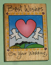 BEST WISHES on YOUR WEDDING Rubber Stamp Heart Doves Marriage Card Making