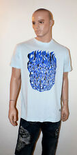 CHRISTIAN AUDIGIER Ed Hardy T-Shirt Men's X-LARGE BLUE FLAMES Rhinestone BLING