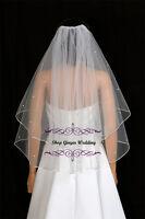 2T White Diamond Ivory Elbow Swarovski Crystal Rhinestones Wedding Bridal Veil