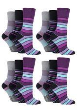 12 Prs Ladies Sockshop Cotton Gentle Grip Socks 4-8uk 37-42 Multi Stripes RH10