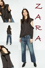 ZARA Round Neck Top Frilled Off-The-Shoulder Long Sleeves New Top Size S + (M)