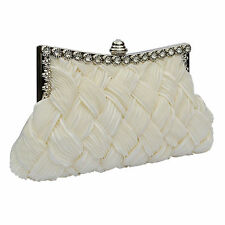Ivory Satin Clutch Bag Crystal Diamante Bridal Wedding Prom  Evening HandBag 079