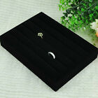 New Soft Velvet Jewelry Ring Display Organizer Showcase Box Tray Holder Black