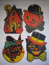 Lot of 4 Vtg Halloween Die Cut Decorations Beistle Witch Cat House JOL