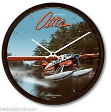 """New de HAVILLAND OTTER Wall Clock 10"""" Bush Pilot Propeller Plane Water Floats"""
