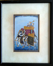 Indian Art Scene with Elephant Gouache on Silk Asian Home Decor Painting Gobelin