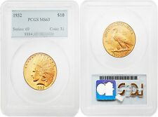 USA 1932 Indian Head Gold $10 Gold PCGS MS63