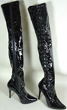 Over Knee Thigh High Boots Black Lace Up Drag Queen Costume ADJUSTABLE Size 11