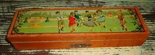 Rare Antique French Wooden Pencil Box ~ Hinged Lid ~ Scene of Children Playing