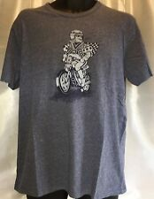 LUCKY BRAND Men's Graphic Moto Joker Shirt Sleeve Blue Cotton T Shirt Large NWT