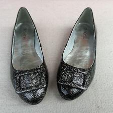 ECHTLEDER Damen LACK Ballerinas HEINE Schuhe Slipper Pumps Schwarz Silber Gr. 43