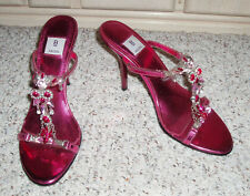 Gorgeous BAKERS 'Tina-S' Dress Slide Sandal Heels~Pink Rhinestone Beaded~ 8.5 B
