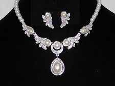 Wedding Silver With White Pearl & Rhinestone Awesome Necklace and Earrings Set