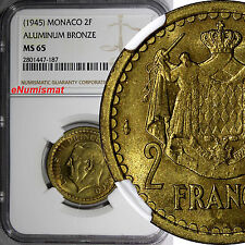 Monaco Louis II 1945 2 Francs NGC MS65 1 YEAR TYPE TOP GRADED BY NGC KM# 121a