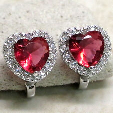 FANTASTIC 4 CT RUBY 925 STERLING SILVER LATCH BACK EARRINGS