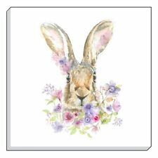 EVANS LICHFIELD COUNTRY FLORAL HARE BROWN CANVAS WALL ART PICTURE 40CM - 16""
