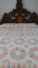 Awesome Vintage Feed Sack Hand Appliqued Dresden Plate Quilt #J39.
