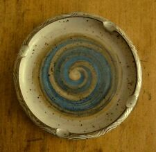 Hand-Crafted Studio Clay Rustic POTTERY ASHTRAY Blue/Brown, 4-Armed Cross Mark