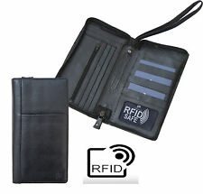 RFID SAFE Black Zipped travel planner Wallet from Prime Hide Passport Holder