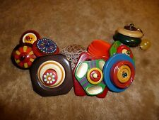 COLORFUL STACKED BUTTON CHARM BRACELET BAKELITE CELLULOID VINTAGE PLASTICS