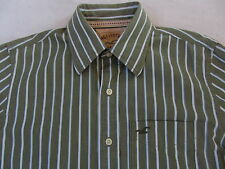 Hollister Men's L/S Button Down Olive Green & White Striped Dress Shirt - Small