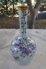 Carafe à Liqueur Art Nouveau Emaillé Fleurs de Lilas LEGRAS MONTJOYE