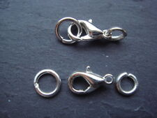 25 silver plated 10mm lobster clasp sets with strong 5mm & 7mm jumprings