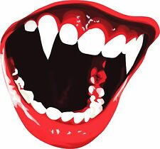 COOL VAMPIRE TEETH HALLOWEEN VINYL CAR VAN LAPTOP STICKER DECAL