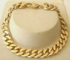 HEAVY GENUINE 9K 9ct Yellow Gold UNISEX FLAT CURB BRACELET  21 cm