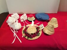 Lot Of Doll Hats, Straw Hats, Lace Hats, Various Sizes