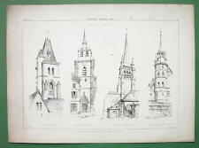 CHURCH Bell Towers Churches at Lausanne Fribourg - Antique Print