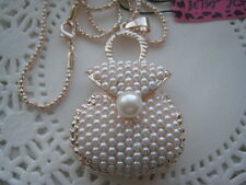 "BETSEY JOHNSON GP PEARL MONEY BAG NECKLACE  26""  # 297"
