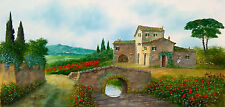 ITALIAN PAINTING LANDSCAPE WITH OLD BRIDGE TUSCANY OIL ORIGINAL L.TORSI ITALY