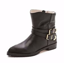 MATT BERNSON SHOES VOX BUCKLE BOOTIES ANKLE BOOTS BLACK LEATHER 8 $370
