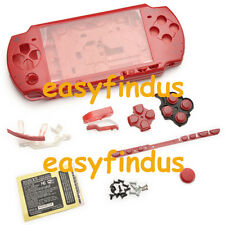 for PSP 2000 Full Housing Shell Case LR door screw button barcode repair red