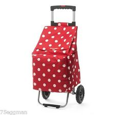 RED AND WHITE CHERRY POLKA DOT FOLDABLE COLLAPSIBLE SHOPPING MARKET TROLLEY CART