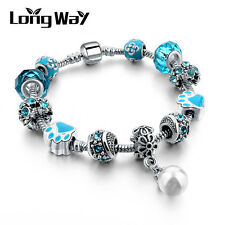 Silver Glass Beads Bracelet With Blue Crystal European Charms Fit Women O