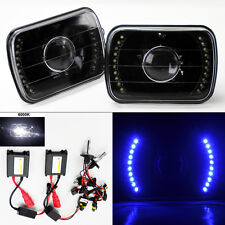 "7X6"" 6K HID Xenon H4 Black Projector LED DRL Glass Headlight Conversion FORD"