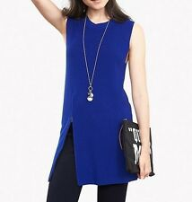 Banana Republic Womens Zip Sleeveless Sweater Tunic Neon Cobalt Size XL NWT $90