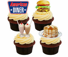 American Diner Edible Cupcake Toppers - Standup Cake Decorations USA America 50s