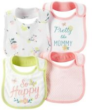 New NWT Carters Infant Baby Girls Lot Pack of 4 water resistant Teething bibs
