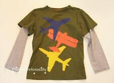 MINI BODEN ARmy Green Gray long layer SLeeve Airplane Graphic shirt sIze 3 4