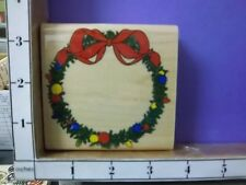 Jumbo Christmas Wreath Bow Ornament Greenery  rubber stamps 30K