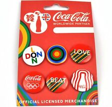 Coca-Cola Coke England Packung mit 6 Pins London Olympia Buttons Badges