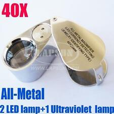 40X Hand Metal Jewellery Jewel Microscope Magnifier Loupe Lens + LED UV Light