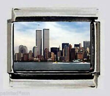 WTC Twin Towers NYC 9 11 01 ITALIAN photo 9mm Charms for nomination bracelets