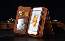 Brown Magnetic Wallet Zipper Leather Purse Handbag Cover Case For iPhone 5 5S SE